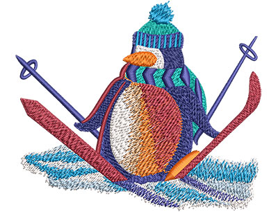 Embroidery Design: Penguin Snow Skiing Lg 4.51w X 3.88h