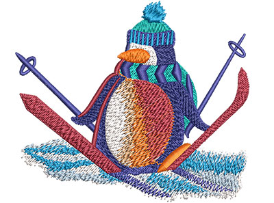 Embroidery Design: Penguin Snow Skiing Med 4.01w X 3.46h