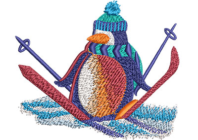 Embroidery Design: Penguin Snow Skiing Sm 3.51w X 2.99h