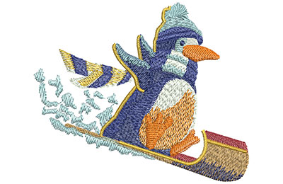 Embroidery Design: Penguin Sledding Lg 4.00w X 3.33h