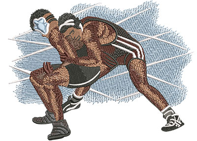 Embroidery Design: Wrestling Take Down Lg 6.29w X 4.75h