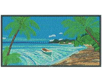 Embroidery Design: Beach Scene Lg 8.04w X 4.16h