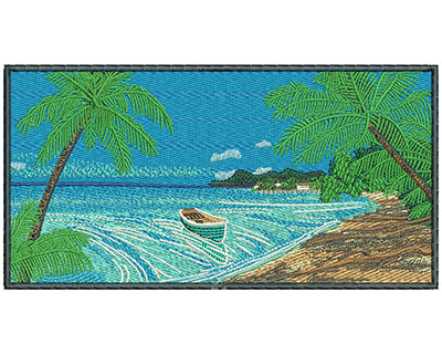 Embroidery Design: Beach Scene Med 7.04w X 3.64h