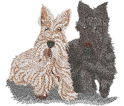 Embroidery Design: Scottish Terriers Lg 4.57w X 4.26h