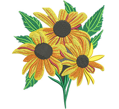 Embroidery Design: Black-Eyed Susan Flower Lg 5.15w X 6.01h