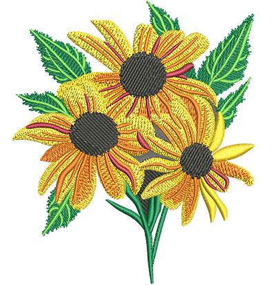 Embroidery Design: Black-Eyed Susan Flower Med 4.28w X 5.01h