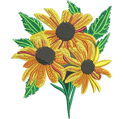 Embroidery Design: Black-Eyed Susan Flower Sm 3.44w X 4.01h