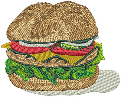 Embroidery Design: Cheese Burger Lg 3.48w X 2.78h