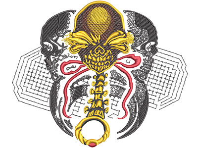 Embroidery Design: Death Rattle Lg 7.01w X 5.86h