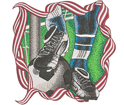Embroidery Design: Soccer Foot And Ball Lg 6.00w X 6.01h