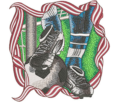 Embroidery Design: Soccer Foot And Ball Med 5.00w X 5.01h