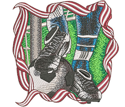 Embroidery Design: Soccer Foot And Ball Sm 4.01w X 4.01h