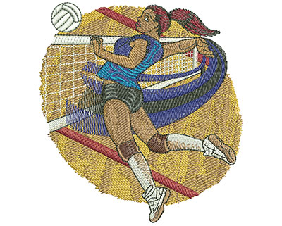 Embroidery Design: Volleyball Jump Spike Med 4.03w X 4.38h