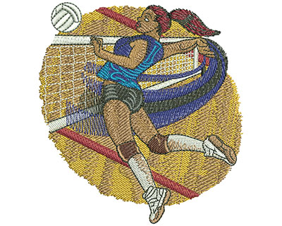 Embroidery Design: Volleyball Jump Spike Sm 3.57w X 3.88h