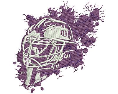 Embroidery Design: Splatter Goalie Mask Lg 3.72w X 3.76h