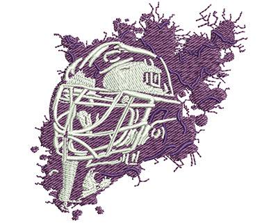 Embroidery Design: Splatter Goalie Mask Sm 2.73w X 2.75h