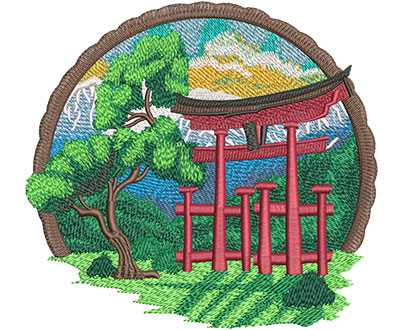 Embroidery Design: Shinto Shrine Lg 6.02w X 5.60h