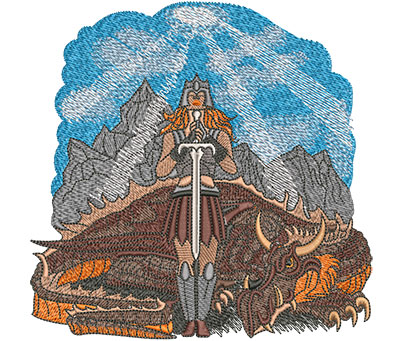 Embroidery Design: Warrior Woman And Dragon Lg 5.98w X 5.90h