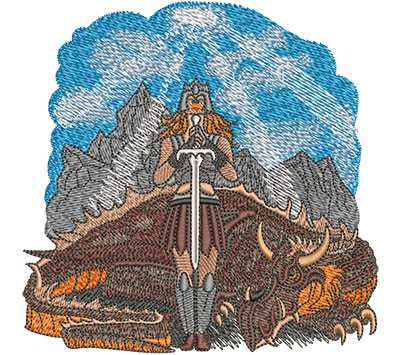 Embroidery Design: Warrior Woman And Dragon Med 4.97w X 4.91h