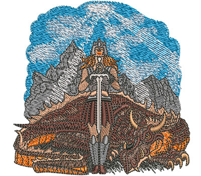 Embroidery Design: Warrior Woman And Dragon Sm 3.97w X 3.93h