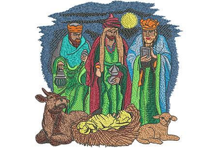 Embroidery Design: Three Wise Men Lg 5.88w X 5.88h