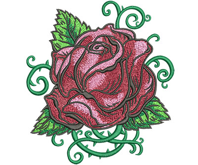 Embroidery Design: Tattoo Rose Lg 5.46w X 6.02h