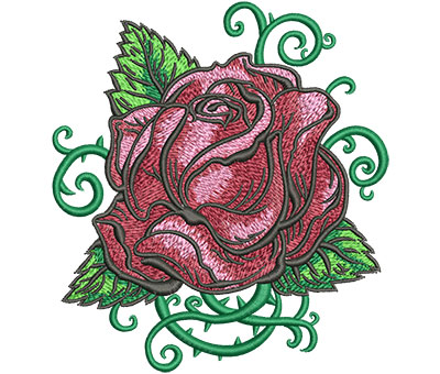 Embroidery Design: Tattoo Rose Med 4.56w X 5.02h