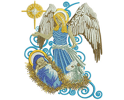 Embroidery Design: Angel With Baby Jesus Lg 3.74w X 4.51h