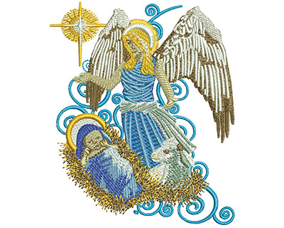 Embroidery Design: Angel With Baby Jesus Med 3.31w X 4.00h