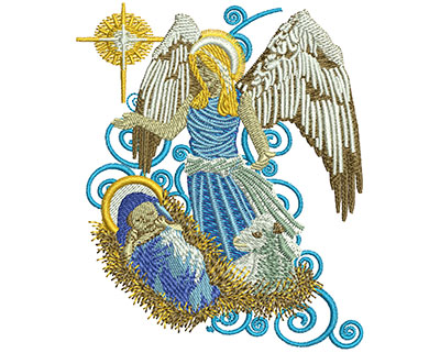 Embroidery Design: Angel With Baby Jesus Sm 2.90w X 3.50h