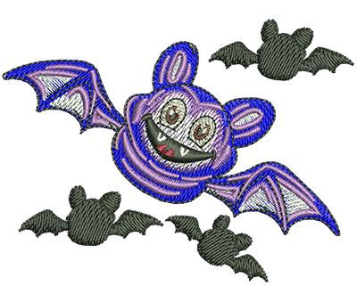 Embroidery Design: Halloween Bat Lg 3.49w X 2.61h