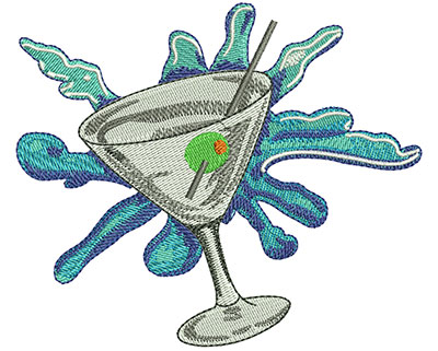 Embroidery Design: Martini Glass Med 3.96w X 3.37h