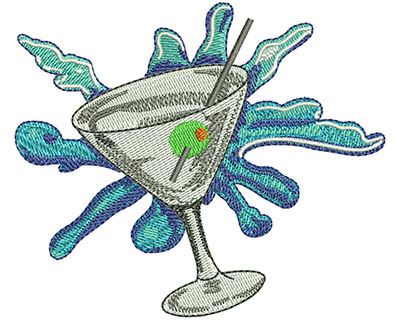 Embroidery Design: Martini Glass Sm 3.46w X 2.95h