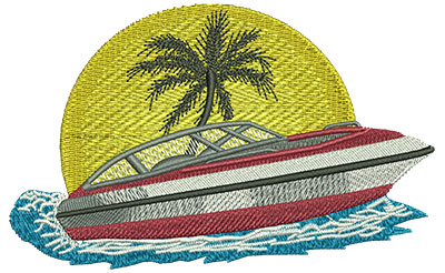 Embroidery Design: Boat Lg 4.52w X 2.82h