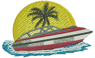Embroidery Design: Boat Sm 3.52w X 2.19h