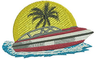 Embroidery Design: Boat Sm 3.52w X 2.19h