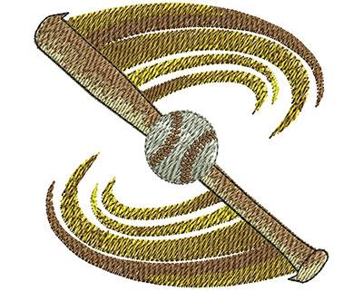 Embroidery Design: Baseball Bat Swoosh Sm 3.02w X 2.92h
