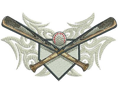 Embroidery Design: Tribal Baseball Bat & Plate Crest Lg 4.44w X 2.62h