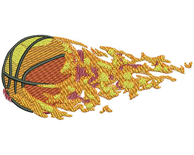 Embroidery Design: Flying Flaming Basketball Lg 4.53w X 2.03h