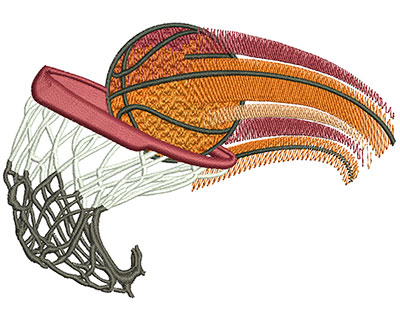 Embroidery Design: Basketball Swoosh Lg 4.43w X 3.11h