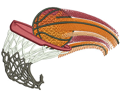 Embroidery Design: Basketball Swoosh Med 3.94w X 2.76h