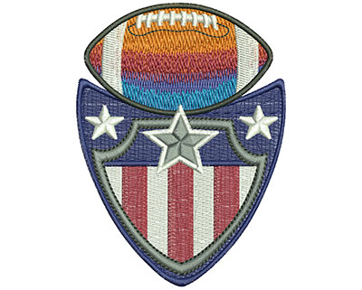Embroidery Design: Football Shield Crest Lg 2.93w X 3.98h