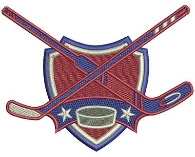 Embroidery Design: Hockey Sticks Crest Lg 4.02w X 3.06h