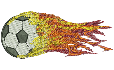Embroidery Design: Flying Fiery Soccer Ball Lg 4.49w X 1.89h