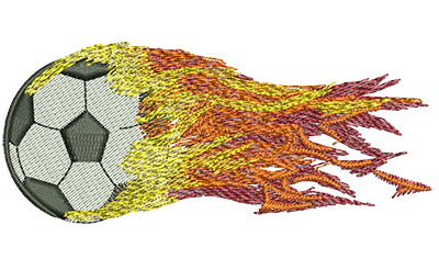 Embroidery Design: Flying Fiery Soccer Ball Med 3.99w X 1.68h