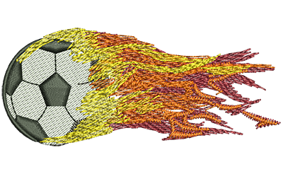 Embroidery Design: Flying Fiery Soccer Ball Sm 3.49w X 1.47h