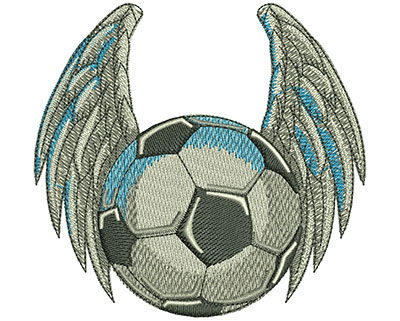Embroidery Design: Bird Winged Soccer Ball Lg 4.02w X 3.81h