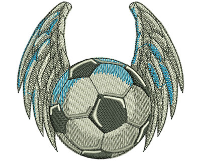 Embroidery Design: Bird Winged Soccer Ball Med 3.52w X 3.34h