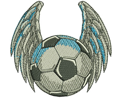 Embroidery Design: Bird Winged Soccer Ball Sm 3.02w X 2.86h