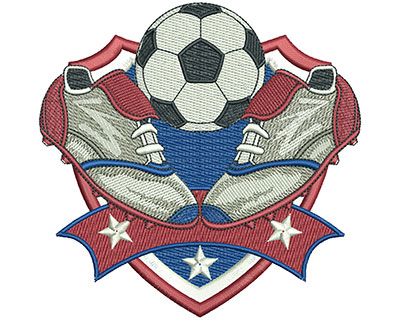 Embroidery Design: Soccer Shoes And Ball Crest Lg 5.01w X 4.90h